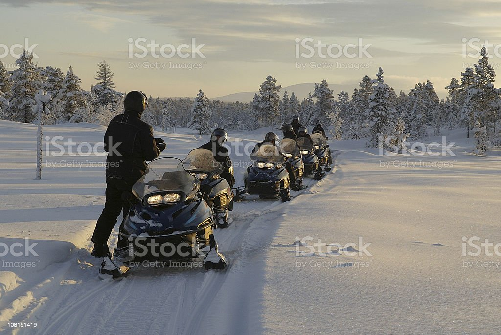 Snowmobile Expedition Winter stock photo