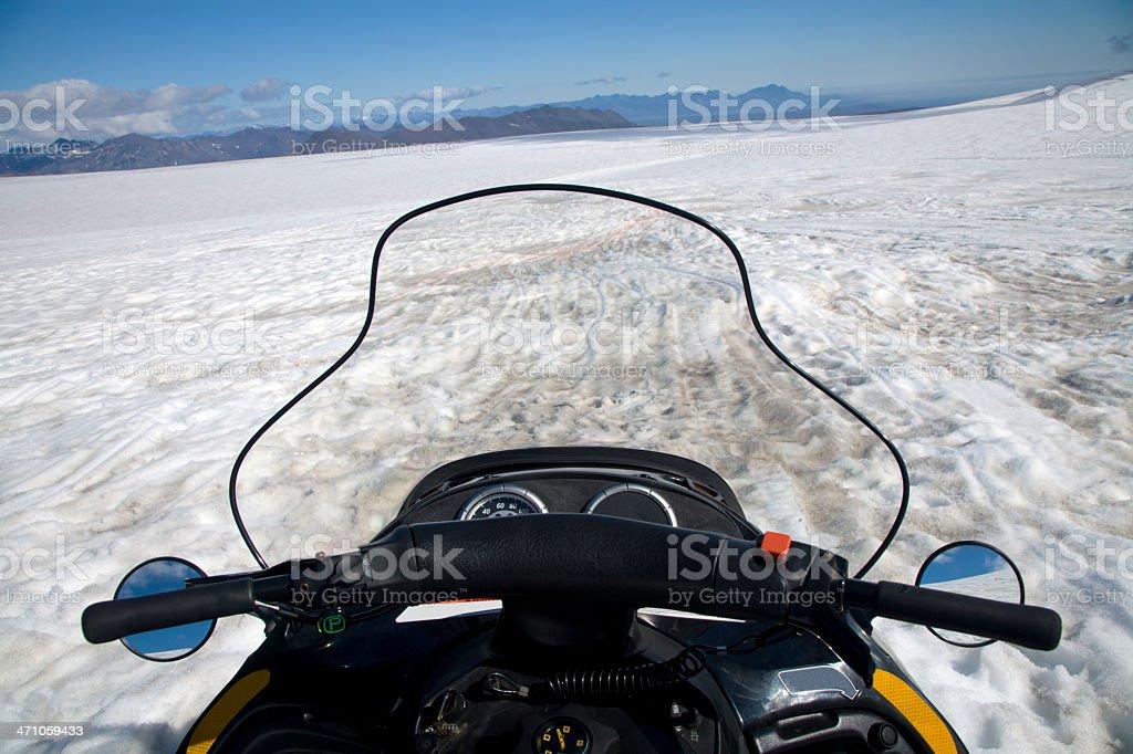 snowmobile on glacier royalty-free stock photo