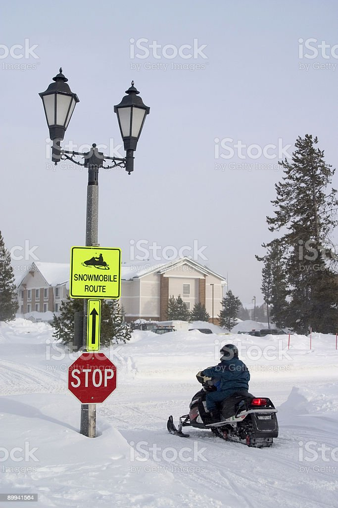 Snowmobile Route royalty-free stock photo