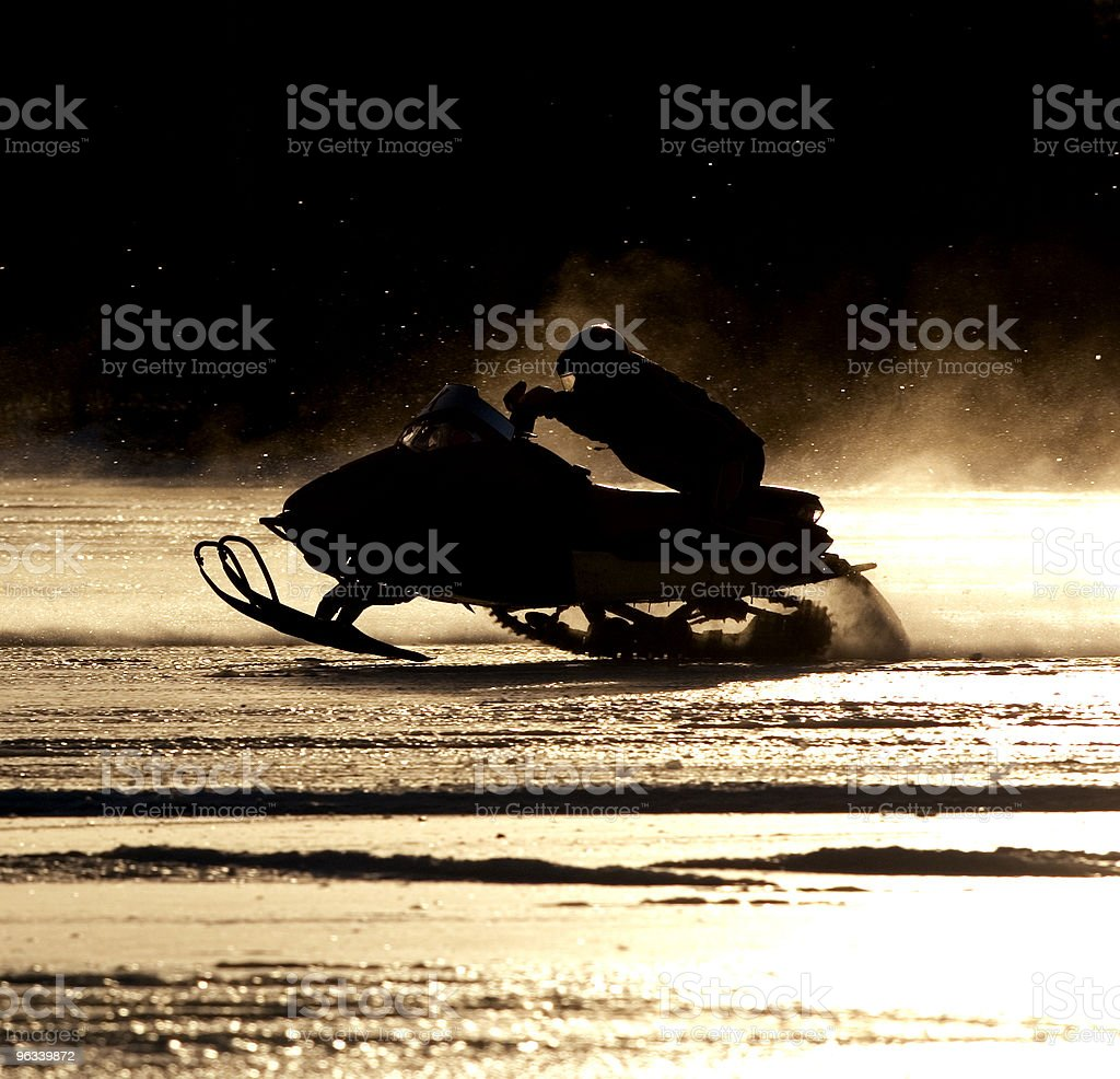 Snowmobile Silhouette royalty-free stock photo