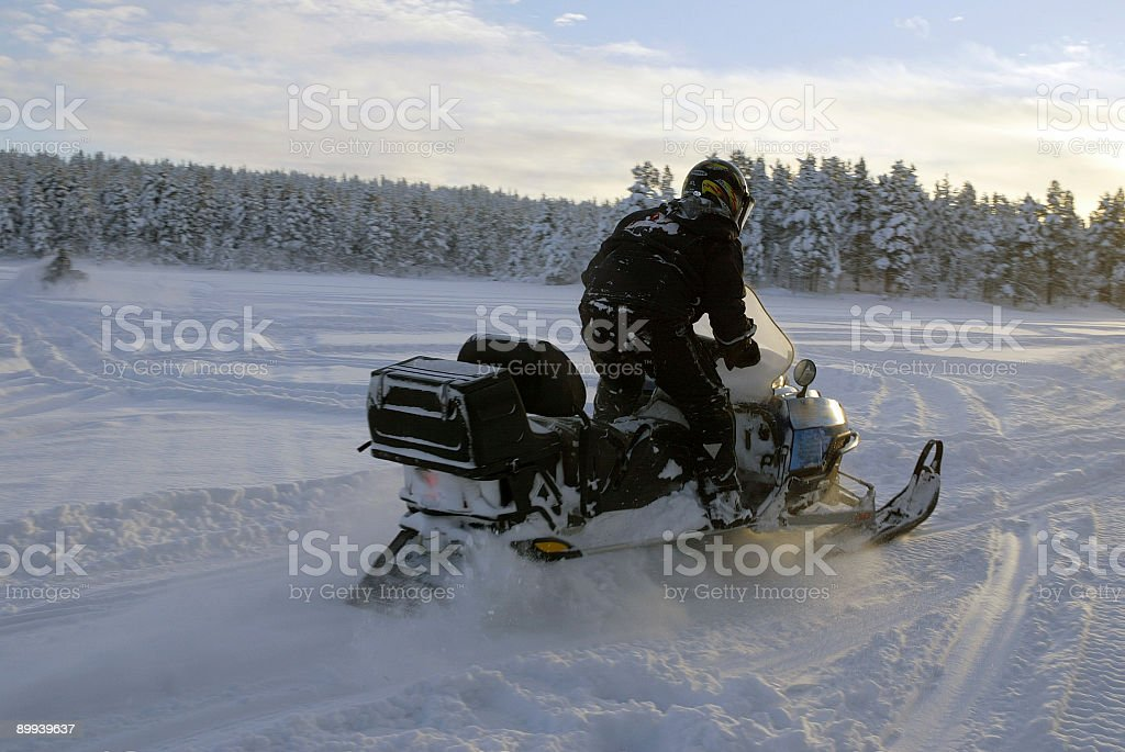snowmobile ski doo in Finland Winter royalty-free stock photo