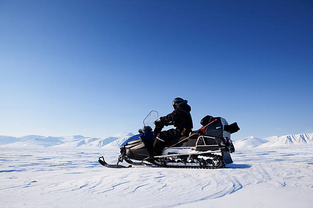 Snowmobile Winter Landscape stock photo