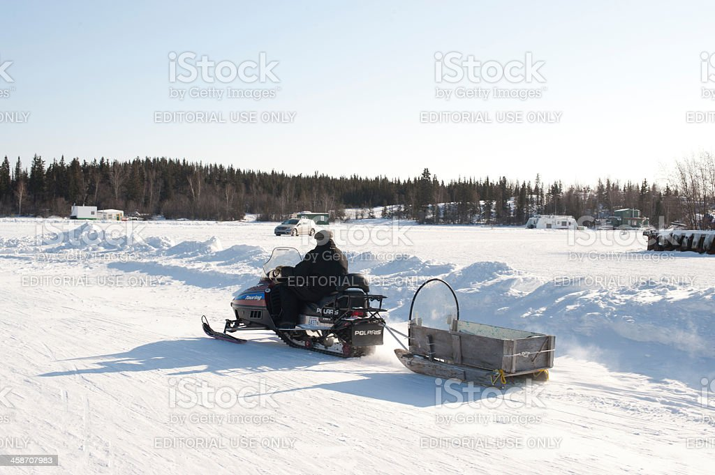Snowmobiler. stock photo