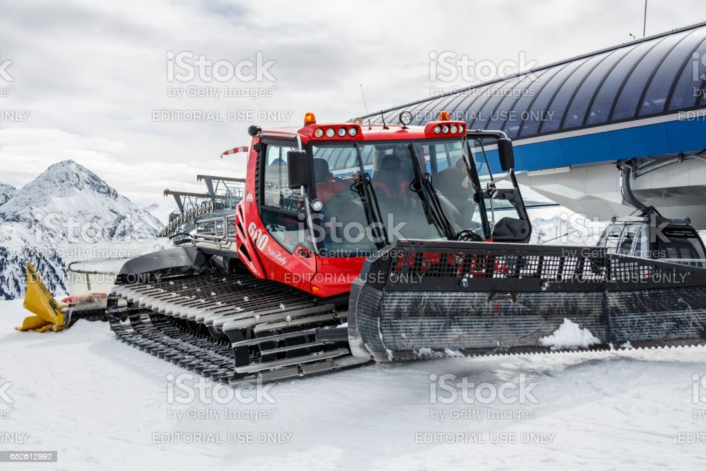 Snowplow at Penkenjoch in Austria, 2015 stock photo