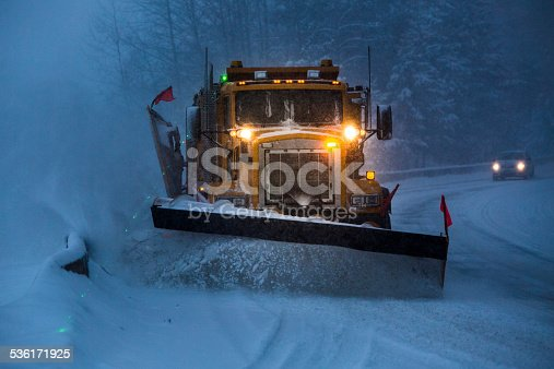 istock Snowplow plowing the highway during snow storm. 536171925