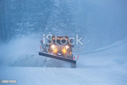 536171925 istock photo Snowplow plowing the highway during snow storm. 536510033