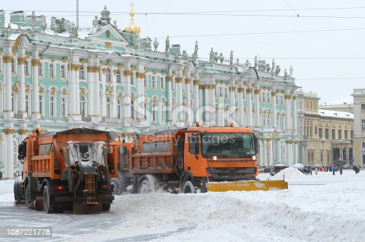 536171925 istock photo Snow-removal vehicles on the streets. 1087221778