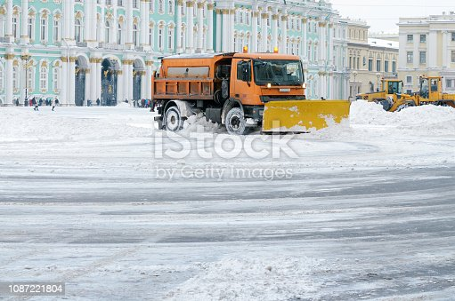 536171925 istock photo Snow-removal vehicles on the streets. 1087221804