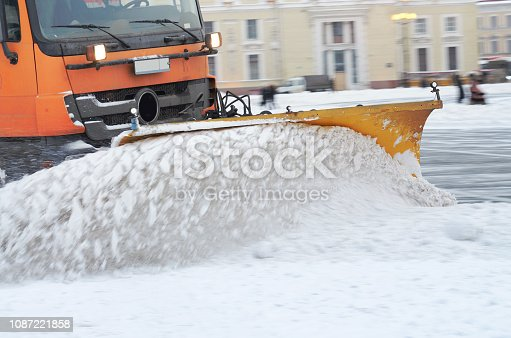 536171925 istock photo Snow-removal vehicles on the streets. 1087221858