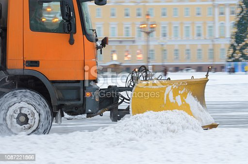 536171925 istock photo Snow-removal vehicles on the streets. 1087221866