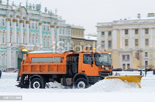 536171925 istock photo Snow-removal vehicles on the streets. 1087221888