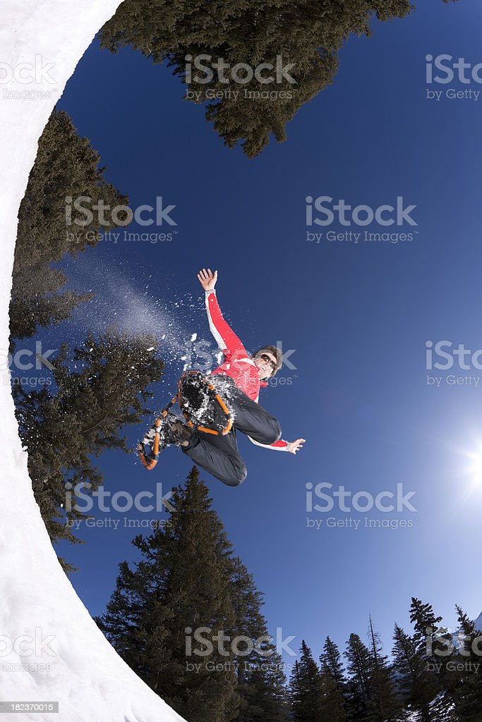 snowshoe action royalty-free stock photo