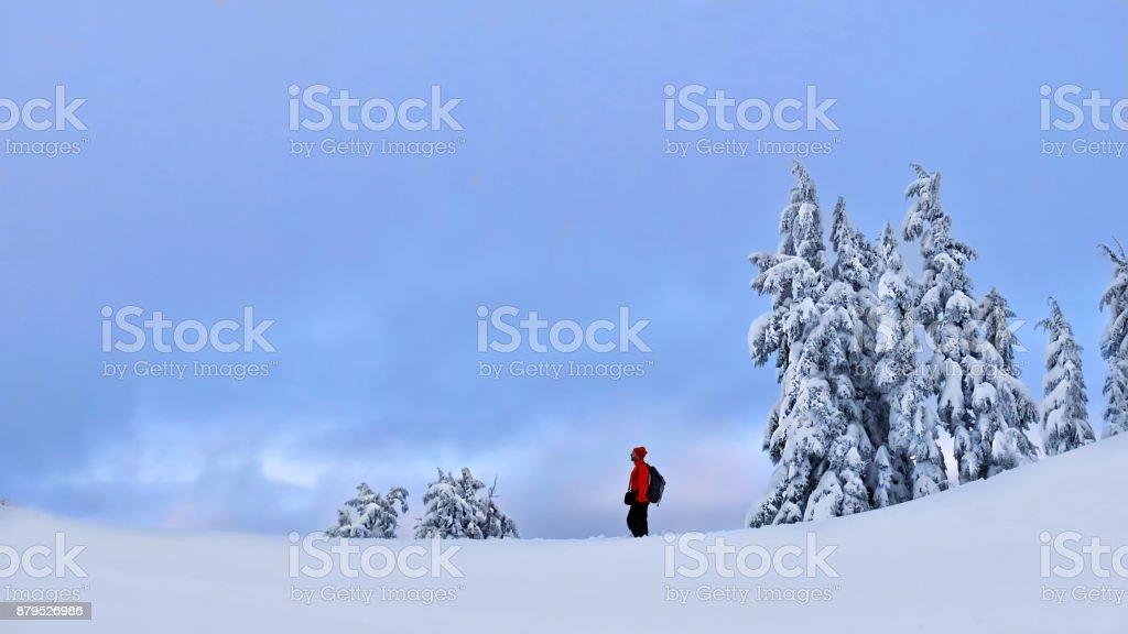 Schneeschuhwandern in Bergen im Winter. – Foto
