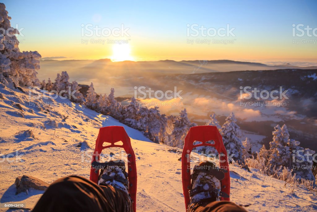 Snowshoe sunset stock photo
