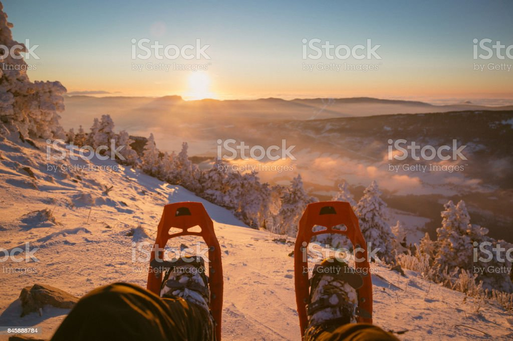 Snowshoe sunset stock photo