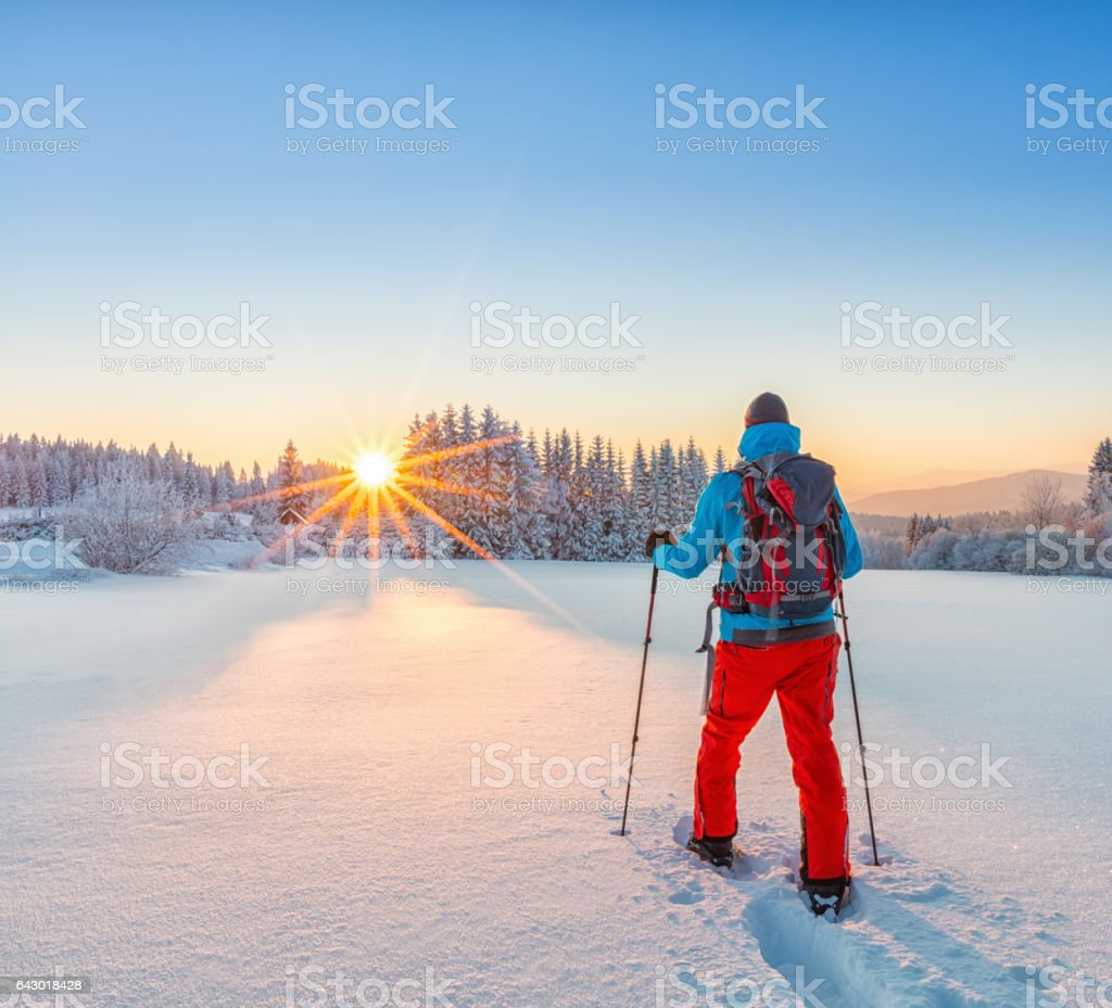 Snowshoe walker running in powder snow stock photo