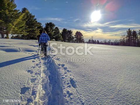 snowshoeing on a sunny day