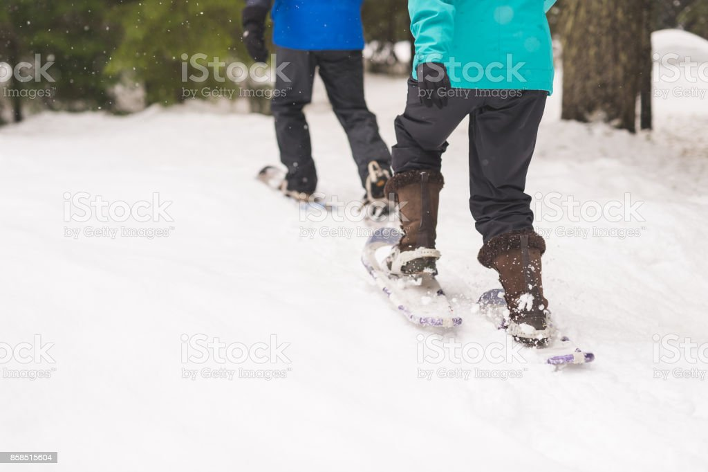 Snowshoeing Adventure! stock photo