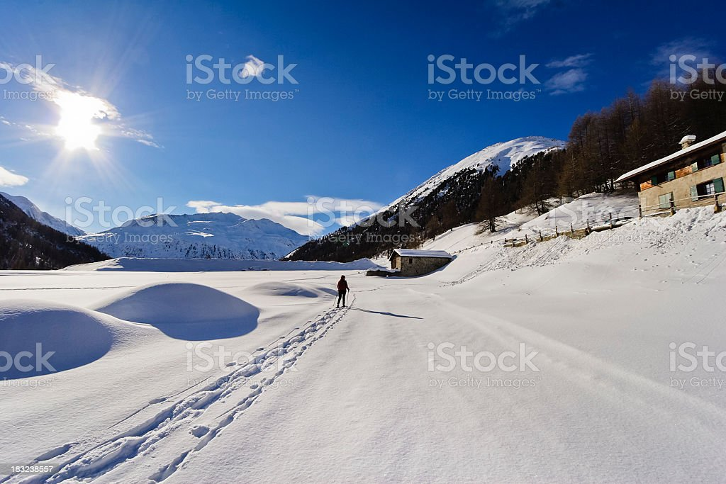 Snowshoeing in Livigno royalty-free stock photo
