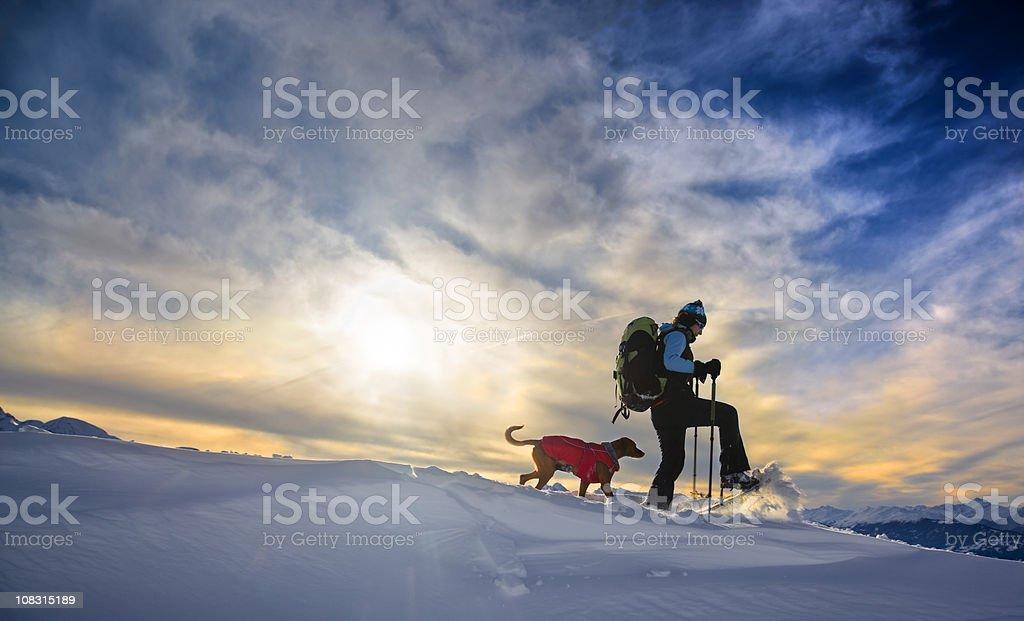 Snowshoeing stock photo