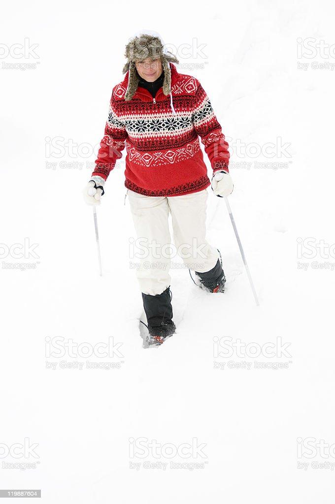 Snowshoeing royalty-free stock photo