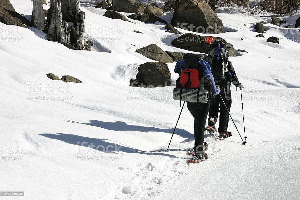 Snowshoers/Backpackers stock photo