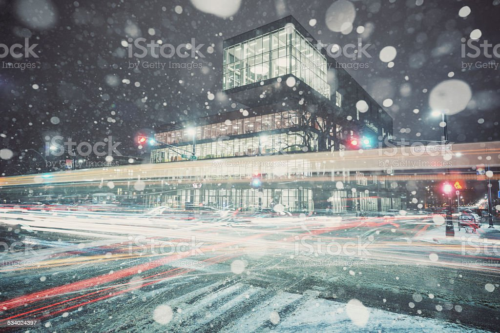 Snowstorm at the Library stock photo