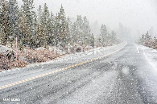 Snowstorm beginning in Yosemite National Park, Tioga Pass. Wet snowy road. California, USA.