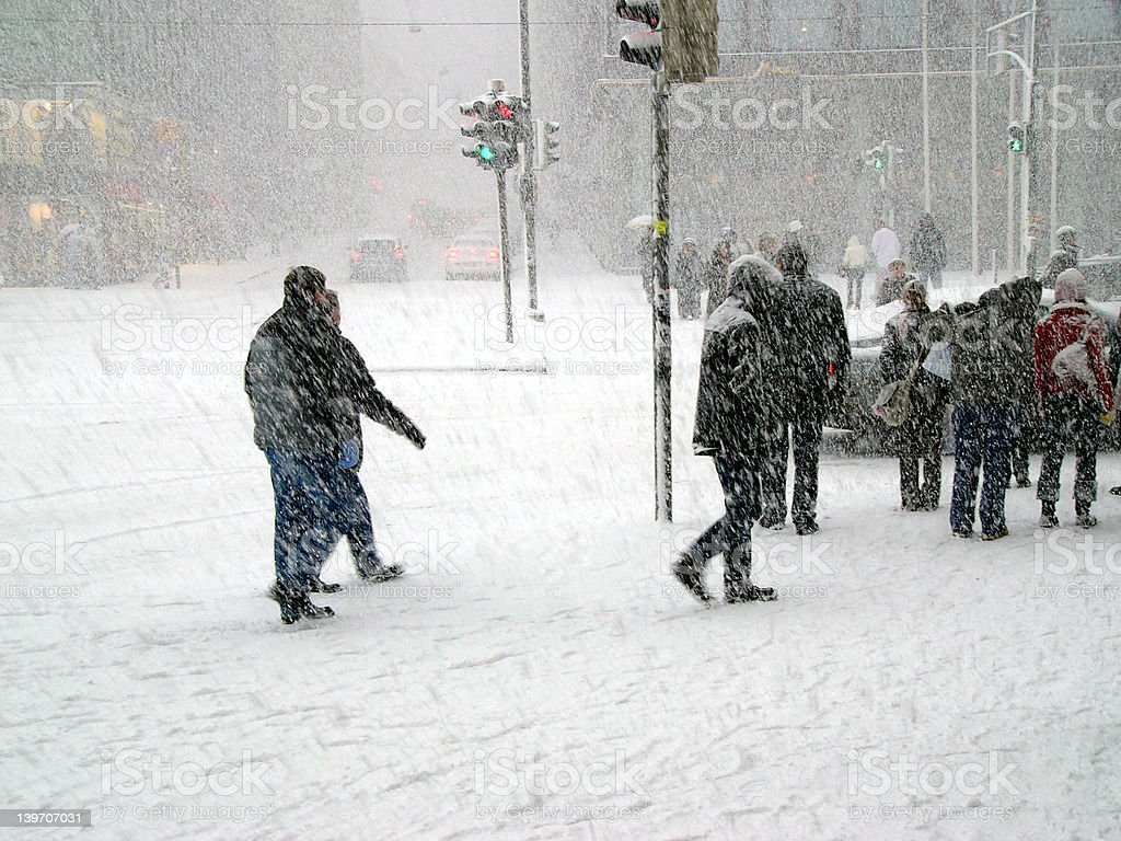 Snowstorm in city royalty-free stock photo