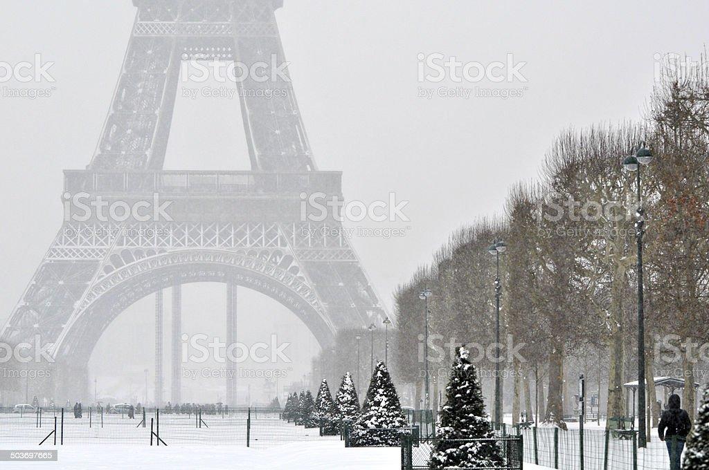 Snowstorm in Paris stock photo
