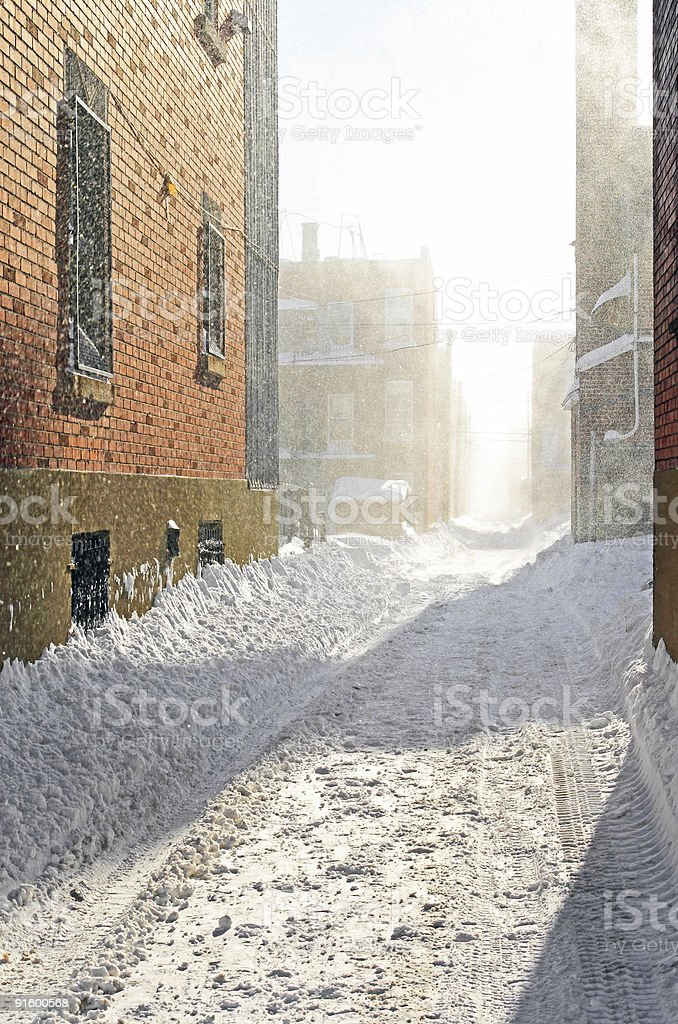 Snowstorm in the sunlight royalty-free stock photo