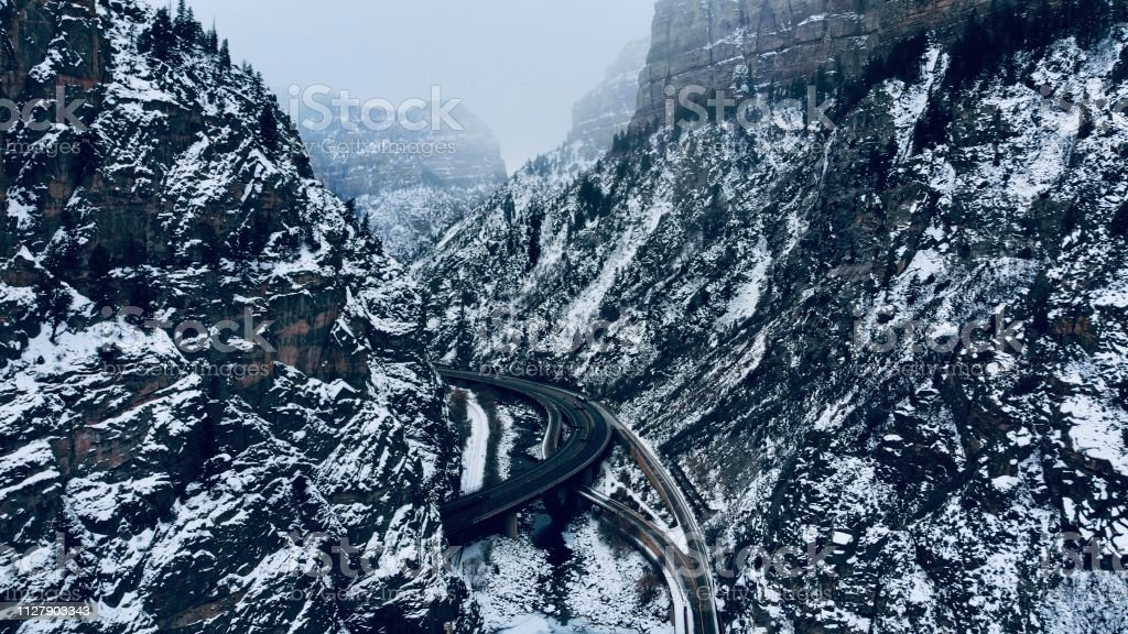 Snowstorm Moves in on I-70 in Colorado stock photo
