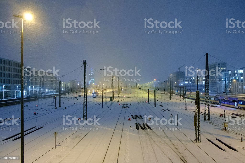snowstorm on railway tracks stock photo