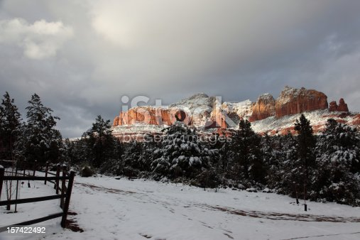 Winter scene in Sedona with a snowstorm over the red rock mountains