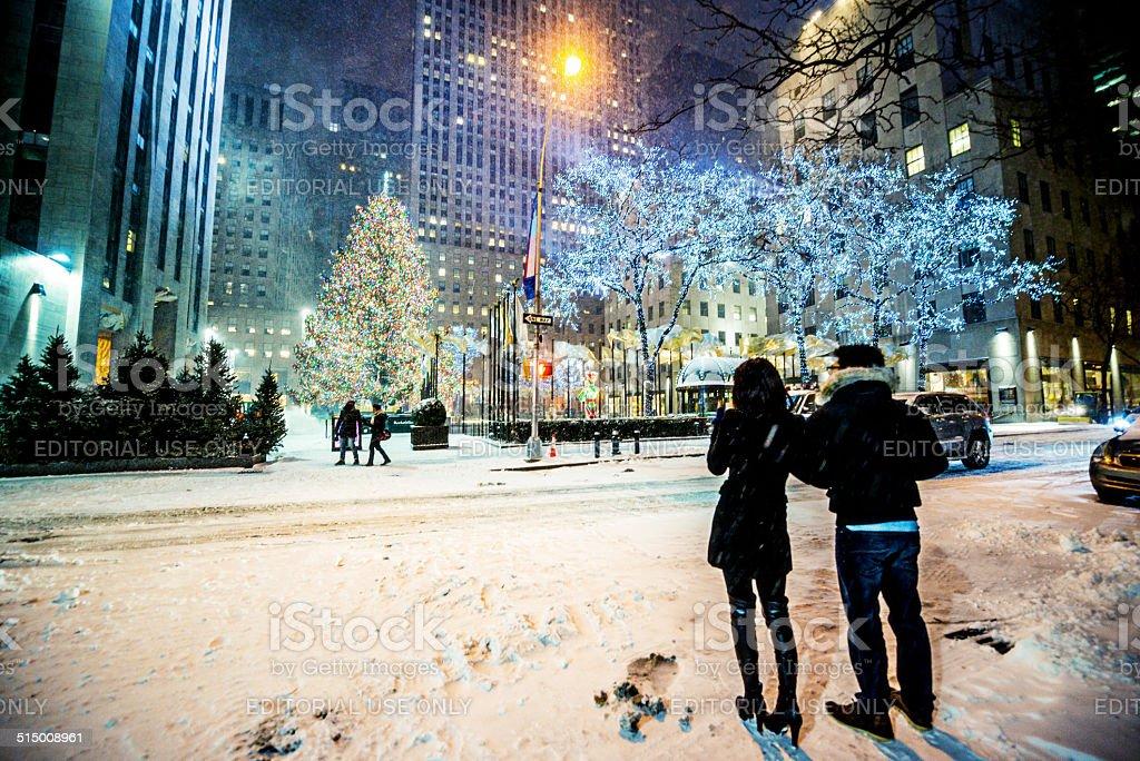 Snowstorn In New York Weihnachten Dekorationen Im