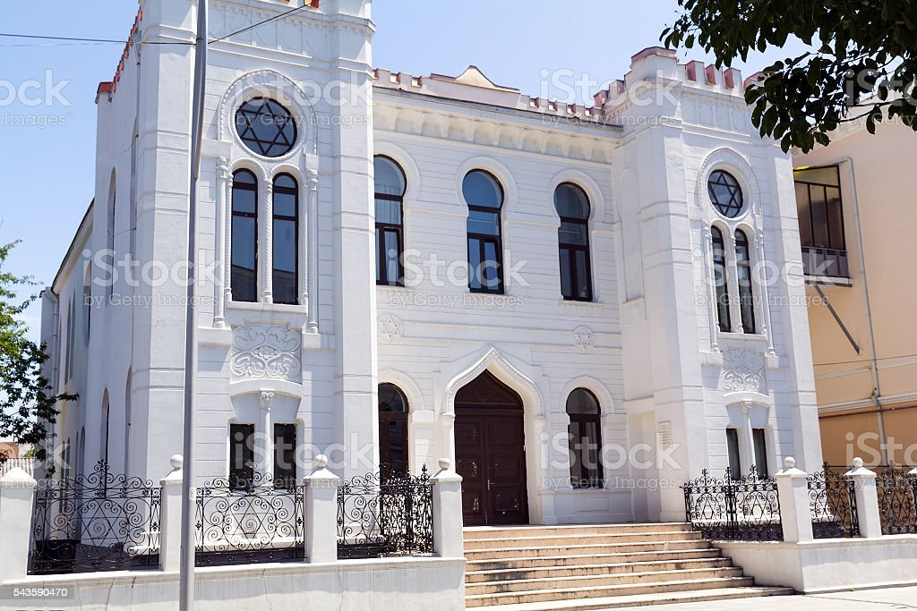 Snow-white building of the synagogue in Batumi stock photo