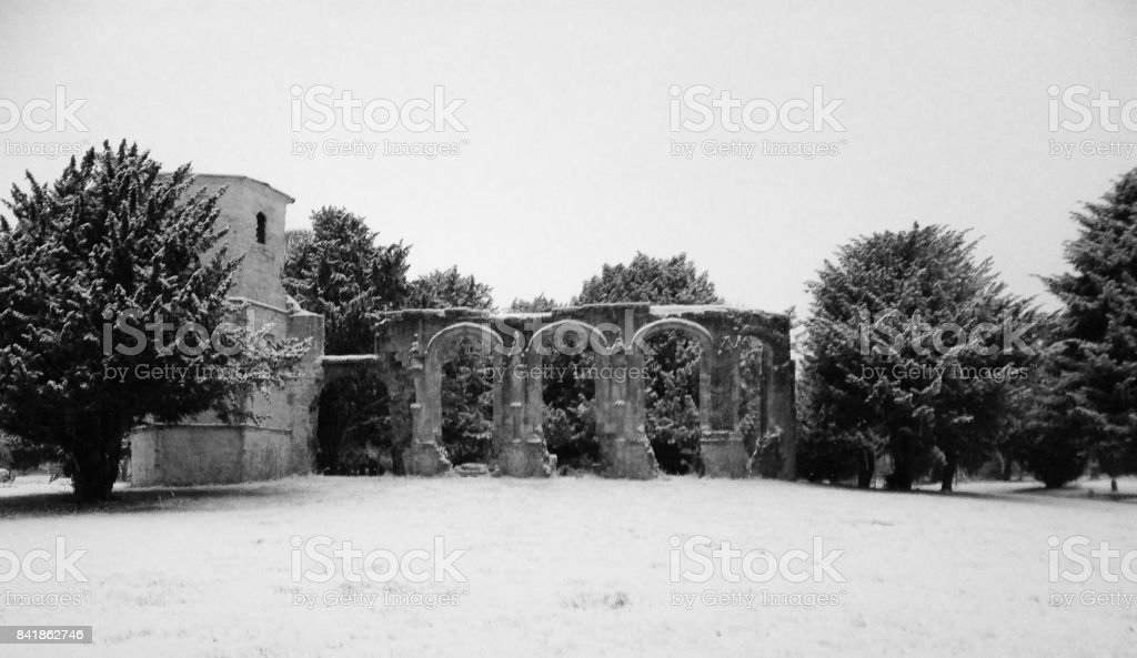 Snowy Abbey stock photo