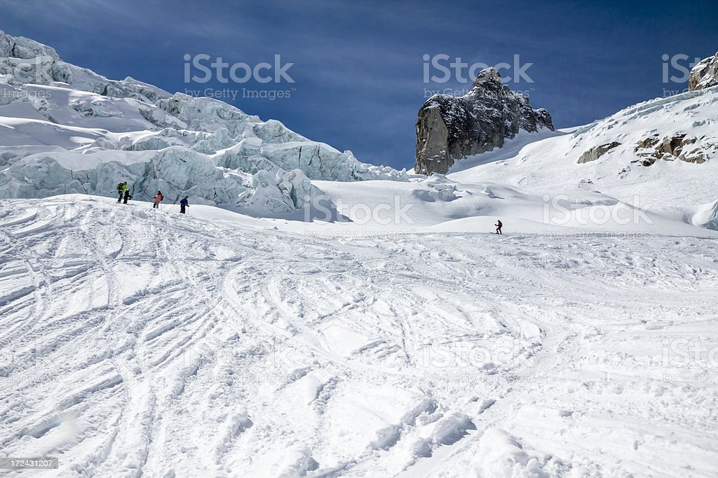 Snowy alps. Skiing down in the Mont Blanc mountain stock photo