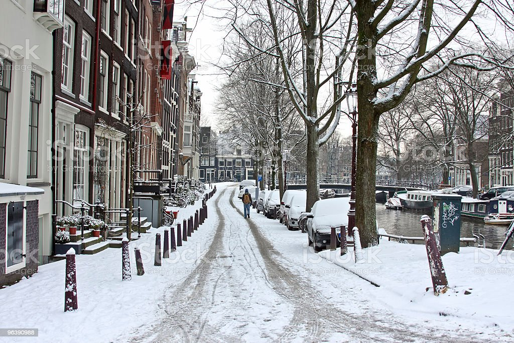 Snowy Amsterdam in wintertime the Netherlands - Royalty-free Amsterdam Stock Photo