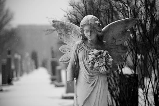Snowy angel statue