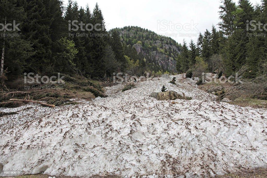 Snowy avalanche stock photo