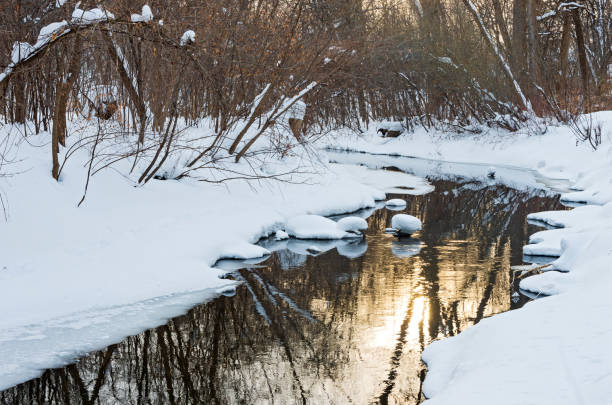 Snowy Banks and Reflections off Waters of Minnehaha Creek stock photo