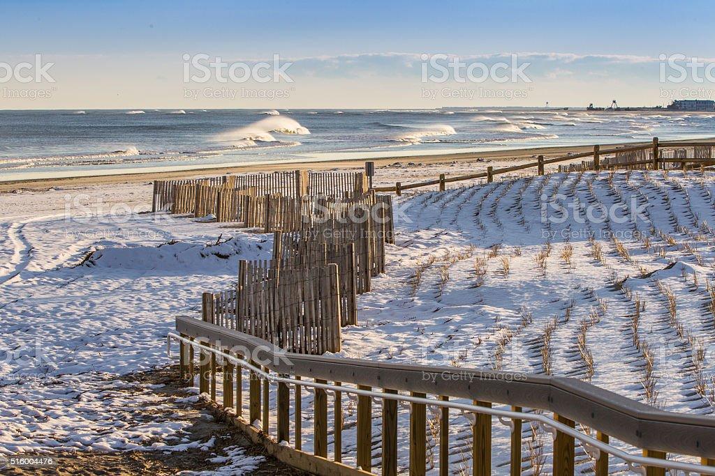 Snowy beach stock photo