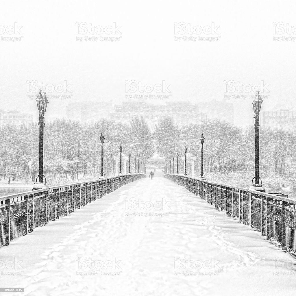 Snowy Bridge stock photo