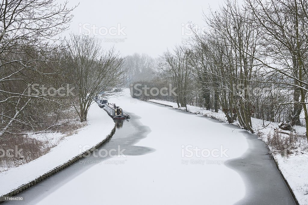 Snowy canal royalty-free stock photo