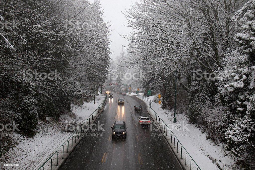 Snowy causeway stock photo