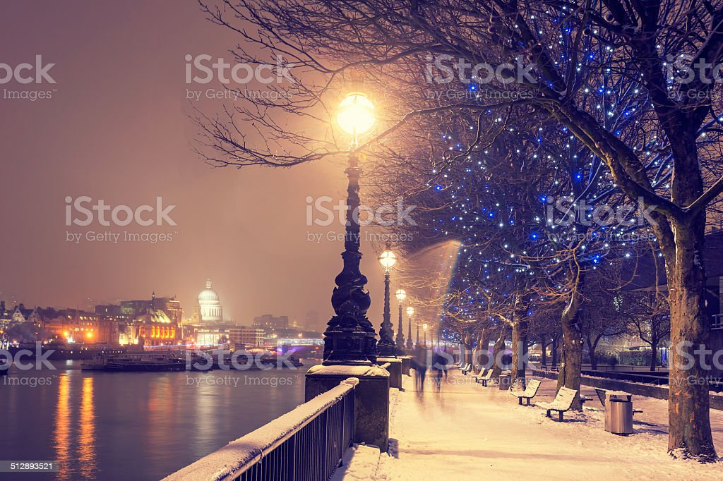 Snowy Christmas in London stock photo