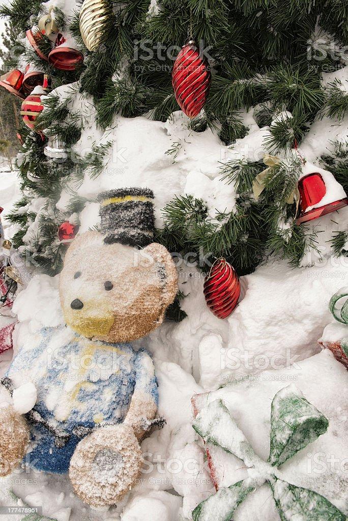 Snowy Christmas Tree Decorations royalty-free stock photo