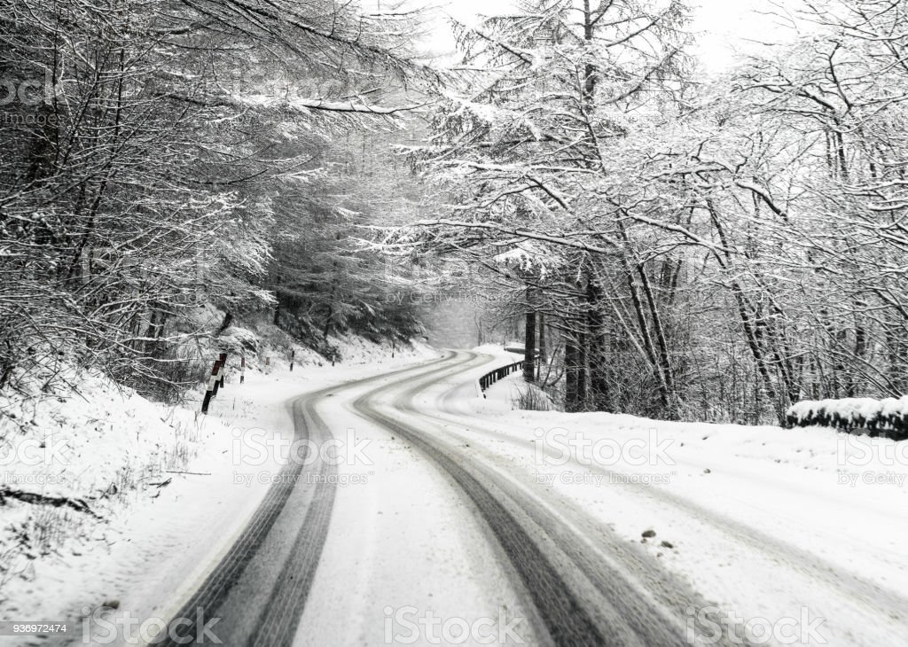 Snowy country British road stock photo