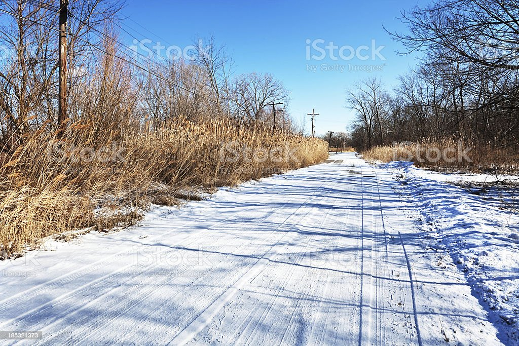 Snowy Country Road in Riverdale, Chicago royalty-free stock photo